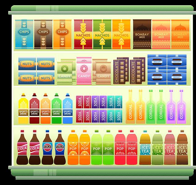 スーパーマーケットの飲み物商品画像