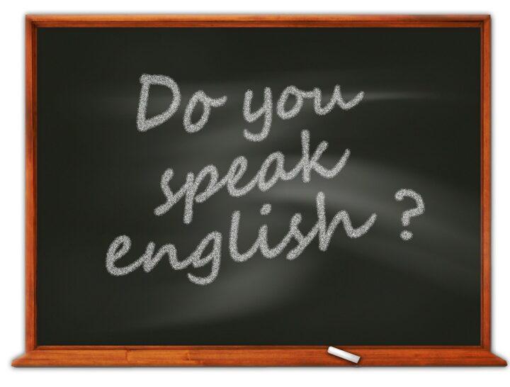 黒板に英語の画像